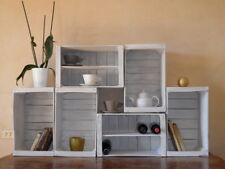 Mobile in legno riciclato, bianco decapato, 6 pezzi