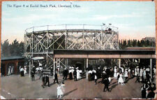 1910 Postcard: Amusement Park Rides at Euclid Beach Park - Cleveland, Ohio OH