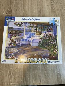 """White Mountain Complete 300 Large Piece E-Z Hold Puzzle """"On The Water"""" 18""""x24"""""""