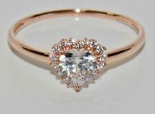 9ct Rose Gold 0.50ct Ladies Heart Cluster Ring - size Q - UK Hallmarked
