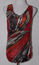 Kenneth Cole Reaction Womens Tank Top Small Geometric Cowl Drape Neck Sleeveless