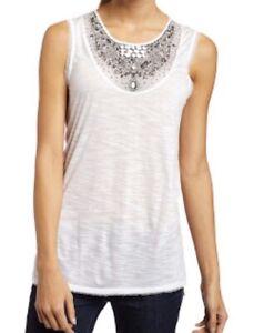bcbg maxazria size 8 Top Singlet Azira White Embellished Jewel Beaded Lace