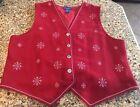 Karen Scott XL Red Acrylic Button Up Vest UGLY CHRISTMAS Vest Sweater Snowflakes