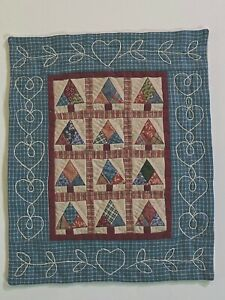 """Exquisite Miniature Fabric Quilt, little trees, tiny, sewn by hand, 9.2 x7.5"""""""