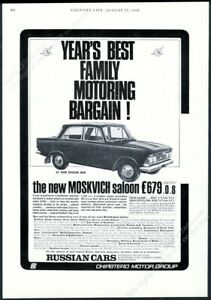 1966 Moskvich Russian car photo UK Chipstead Motor Group vintage print ad