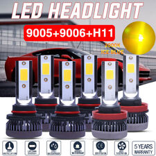New listing 6x Combo Mini 3000k yellow 9006+9005+H11 Cob Led Headlight Kit Hi-Low Beam Bulbs
