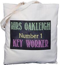 PERSONALISED - NO 1 KEY WORKER - BLACKBOARD DESIGN - COTTON SHOULDER BAG - Tutor