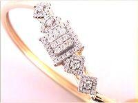 14K yellow GOLD ROUND DIAMOND BANGLE BRACELET 3/4 CTTW