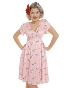🤍 Lindy Bop   Ariadne Pink Birds Print Dress   Aus/Uk 12