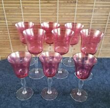 Victorian Cranberry Flashed Glass (6) Optic Wine Glasses (3) Cordial Glasses
