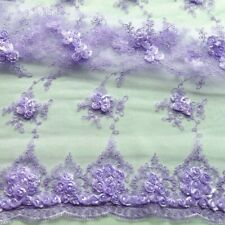 """LILAC PURPLR FLORAL LACE FABRIC SCALLOPED ROSES / CORDING ON SHEER MESH 56"""""""