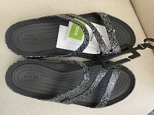 Disney Parks Crocs Mickey Mouse & Minnie Bows Sandals Black Women Size 9 NWT