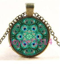 Peacock Mandala Cabochon Bronze Glass Chain Pendant Necklace TS-3640