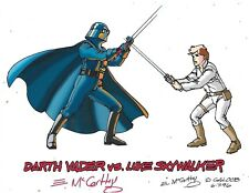 STAR WARS Darth Vader VS Luke Skywalker Package Art Color Print E McCarthy