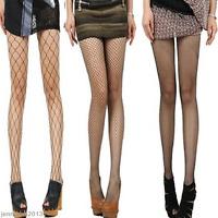 Black Women Ladies Fishnet Net Pattern Burlesque Hoise Pantyhose Tights One Size