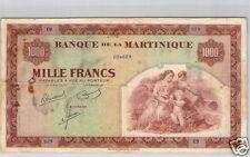 BANQUE DE LA MARTINIQUE 1 000 FRANCS ND (1942) PICK 21a TRES RARE !!!!
