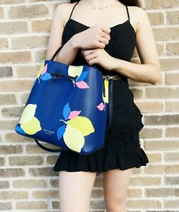 Kate Spade Eva Lemon Zest Large Bucket Bag Blue Yellow Drawstring Crossbody Bag