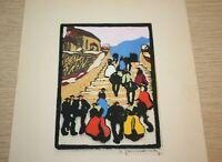 "Herbert Gurschner ""On The Stairs"" Woodcut Gravure Sur Bois SIGNED"