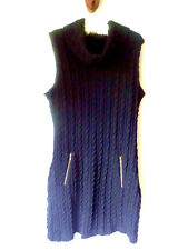 SZ L EDGE Black Casual Cowl Sleeveless Sweater Cable Knit Dress