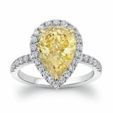 3 Ct Pear Cut Fancy Yellow Diamond Halo Engagement Ring In 925 Sterling Silver