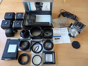 Hasselblad 500C/M Chrome Camera Carl Zeiss 80mm f2.8 Lens A12 Back w/Accessories