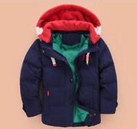 Boys Winter Coat Warm Hood Duck Down School Trendy Parka Casual Age Size 3-10