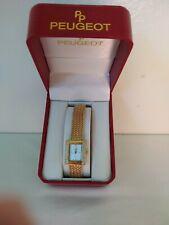 JAPAN MPVT PEUGEOT 766 WOMENS GOLD TONE DIAMOND BRACELET QUARTZ WATCH BOX/CERT