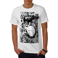 Wellcoda Gothic Crow and Skull Mens T-shirt, Raven Graphic Design Printed Tee