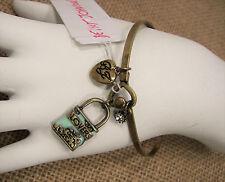 Betsey Johnson Wanderlust Mint Lovers Lock Antique Gold Bangle Bracelet MSRP $38