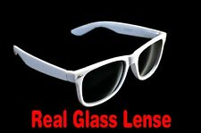 White Glass Lens Medium Sunglasses Spring Hinge Mens Womens UV400