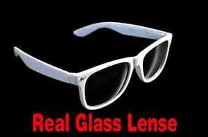 White Glass Lens Medium Sunglasses Spring Hinge Mens Womens UV400