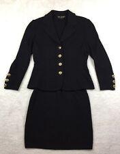 Vintage St. John Knits  Marie Gray 2 piece skirt jacket suit Santana knit Black