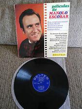 """MANOLO ESCOBAR PELICULAS DE LP 12"""" VINYL VINILO 1968 BELTER G+/G+ SPAIN ED"""