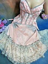 BYRON LARS Beauty Mark CORSET DRESS pink LACE garters NWT 4