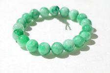 Vintage Hand Carved Natural Green Jadeite Jade Bead Bracelet 10 mm