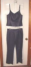 NEWPORT-NEWS-LEATHER OUTFIT-TOP- SIZE-16*PANT-SIZE-14- DARK BLUE-NEW