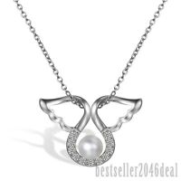 925 Sterling Silber Engel Flügel Zirkonia Süßwasser Perle Anhänger Halskette