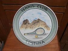 Piatto ceramica TENNIS CLUB CORTINA dipinto a mano firmato 24 cm ceramic dish