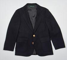 Vintage POLO RALPH LAUREN Boys Blazer Sz 7 in Navy Blue Wool Logo Brass Buttons