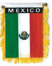 """Mexico Mini Banner Flag 4 x 6"""" with Brass Staff & Suction Cup - New"""