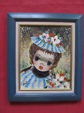 """Superbe huile 1960 portrait d'enfant dans le style de GIUFFRIDA NINO """""""""""