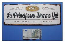"""Targa vintage """"La Principessa Dorme Qui, Do not disturb"""", metallo, cm 36x13"""