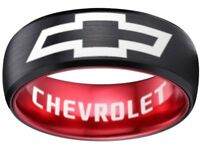 Chevrolet Ring Chevy Wedding Band 8mm Tungsten Black and Red Sizes 6 - 13