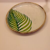 Round serving tray dinnerware plate handpainted serving dish wooden serving tray