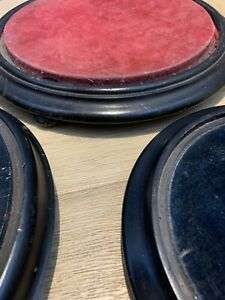 4 Vintage Decorative Ebonised Display Bases Stands . Glass Dome Bases.