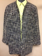CHICO'S 3 Fringe Cardigan Sweater Chunky Knit Jacket Lined Gray Brown White EXC