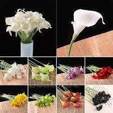10 Head Calla Lily Bridal Wedding Bouquet Latex Real Touch Flower Bouquets Home