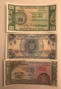 Samoa 1 - 10 Tala Banknote Set 1967 UNC Currency