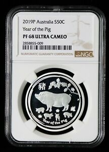 2019 ** Australia PROOF Silver ** Lunar Year of the PIG ** NGC PF68  ** 1/2oz