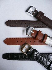 NEW 3 WATCH BAND GENUINE LEATHER ANTI ALLERG CASUAL & ELEGANT BLACK BROWN 14 MM